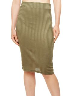 Rainbow Shops Solid Rib-Knit Pencil Skirt $9.99