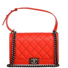 Chanel New Medium Boy Double Quilted Calfskin Bag in Red #chanel