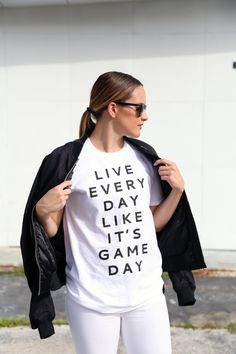 Carly Tice - Live Every Day Like It's Gameday T-Shirt from www.originallyyoung.com