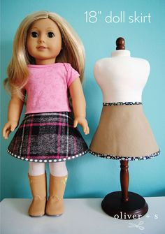 Don't you love it when one pattern can serve two purposes? Rachel discovered that our free Bucket Hat pattern makes a terrific doll skirt!