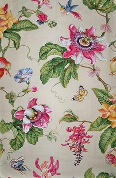 BRUNSCHWIG FILS PARFUM D Ete Birds Toile Fabric 10 yards Rose