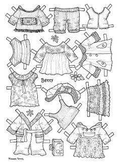 Karen`s Paper Dolls: Betty 1-2 Paper Doll to Colour. Betty 1-2 påklædningsdukke til at farvelægge.