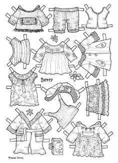 Karen`s Paper Dolls: Betty 1-2 Paper Doll to Colour. Betty 1-2 påklædningsdukke til at farvelægge.