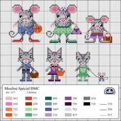 Free cross stitch patterns for cats and mice Dmc Cross Stitch, Small Cross Stitch, Cross Stitch Boards, Cross Stitch For Kids, Cross Stitch Animals, Cross Stitching, Cross Stitch Embroidery, Cross Stitch Patterns, Pixel Crochet