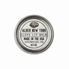 Alder New York: Clove Scented Lip Balm, 0.5 oz.  -  part of the martha stewart american made collection on ebay.      lj