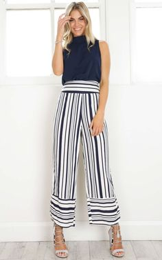 Showpo Three Thirty pants in navy stripe - 14 (XL) Pants & Leggings Wide Leg Cropped Pants, Navy Pants, Navy Stripes, My Wardrobe, Beautiful Outfits, Cute Girls, Summer Outfits, My Style, Womens Fashion