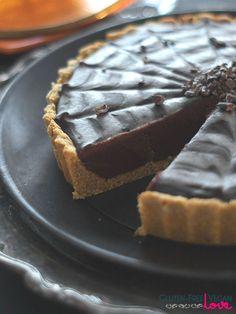 Gluten-Free, Vegan and Paleo Chocolate Pumpkin Tart for Halloween {Refined Sugar-Free, AIP-Friendly} @audreysnowe