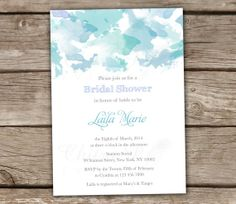 Watercolor Bridal Shower Invitations - Blue, Green, Mint, Baby Shower, Engagement, Couples Shower, DIY, Wedding, Printable