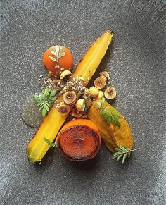 Roast & BBQ heritage carrot, purée, ketchup hazelnut dukkah - by ⭐️ Join our Cookniche community and be a part of the… Ketchup, Bbq Roast, Michelin Star Food, Modernist Cuisine, Plate Presentation, Food Decoration, Molecular Gastronomy, Culinary Arts, Food Plating