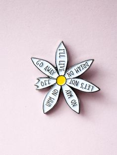 Enamel Daisy Pin. Made by Hartiful 1X1