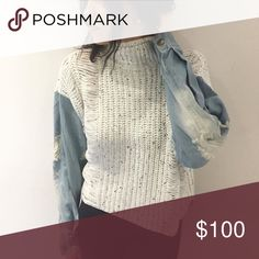 *ISO SWEATER WITH DENIM SLEEVES Major in search of this sweater with denim sleeves! I do not own this. Please do not buy this listing.Originally from the boutique vanilla sky. Any help would be much appreciated! Looking for a size XS or S Brandy Melville Sweaters