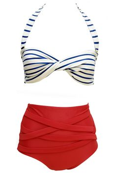Blue and white stripe top with red high waist bottoms... perfection if I lost a few lbs