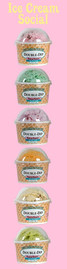 Mmm Ice Cream Social! A delectable assortment of 6 flavors of double dip bath treats!