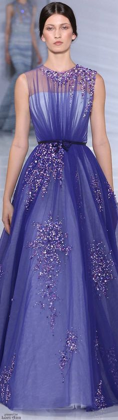 Georges Hobeika ~ Couture Sequin Pleated Violet Ball Gown Fall 2015