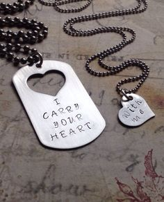 """They say these are his and hers, but I'd like to have a """"I carry your heart"""" one for both me and Cory, and than each one of the kiddos to have a """"with me"""" one."""