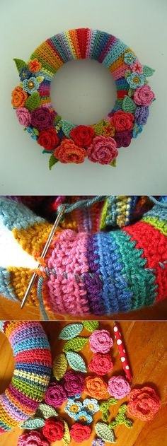 New crochet flowers wreath crafts ideas Crochet Home, Love Crochet, Crochet Crafts, Crochet Yarn, Yarn Crafts, Knitting Yarn, Crochet Stitches, Crochet Projects, Knitting Patterns