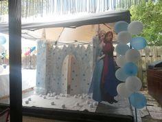 """Cardboard castle inspired by Disneys """"Frozen Movie""""."""