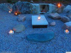 betonipöytä,kivipiha,japanilainen puutarha,takka,ulkotila