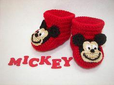 Botitas de bebé Mickey Mouse NB 6 meses finamente acabadas del ganchillo