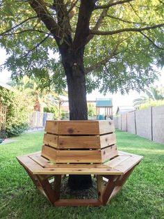 ... wil ik een bankje om een boom in mijn tuin
