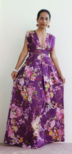 Boho Maxi Dress  Big Floral print   Oriental Secrets by Nuichan, $54.00