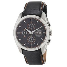 Tissot Mens Swiss Automatic Chronograph Black Leather Strap Watch