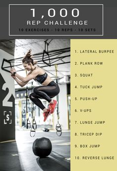 Take The 1000 Rep Workout Challenge 1000 Rep Challenge, Workout Challenge, Gym Workouts, At Home Workouts, Workout Routines, Quick Workouts, Fitness Routines, Workout Plans, Workout Ideas