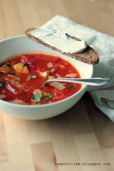 savutofu-sipulikeitto Pumpkin Jam, Panna Cotta, Chili, Soup, Ethnic Recipes, Dulce De Leche, Chile, Chilis, Soups