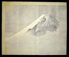"Taikan Yokoyama (1868-1958) - - ""Mt Fuji in Clouds"" - Woodblock"