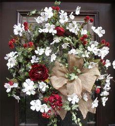 Summer Dogwood Burlap Wreath