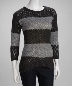 Charcoal & Heather Gray Stripe Mesh Sweater