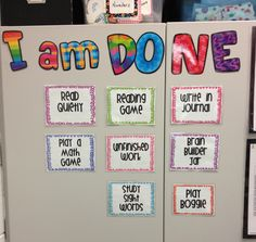 List activities available for students who have checked out books (or who can't check out).  She used CTP's Poppin' Patterns letters. Cute idea!