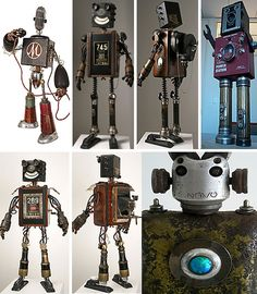 "Gallery of Pseudo-Victorian, steampunkesque retro robot art: Mike Rivamonte and ""Boxy"" pictured"