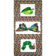 The Very Hungry Caterpillar Transformation Panel from @fabricdotcom  Designed by Eric Carle for Andover Fabrics, this color palette includes orange, blue, green, yellow and red. Use this fabric collection to create a unique quilt, children's fashion apparel and accessories or home décor. The panel measures about 24'' x 45''.