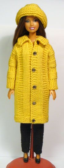 Barbie coat no 101 with free instructions http://www.stickatillbarbie.se/
