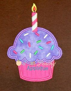 768 Cupcake Sprinkle Candle Applique (Just Peachy) Dec. 2014