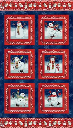 Chilly Silly Snowmates, Snowman Fabric, Christmas Fabric, Christmas Panel, Snowman Panel, by Studio E, 2060P-78 by AnnikasArts on Etsy