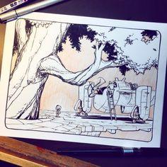 The adventures of Little Bot continue! Animal Sketches, Art Sketches, Manga, Graphic Novel Art, Artist Sketchbook, Environment Concept Art, 2d Art, Art Tutorials, Cool Drawings