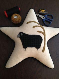 HANDMADE - HAND-STITCHED Wool Applique Star/Sheep Pillow