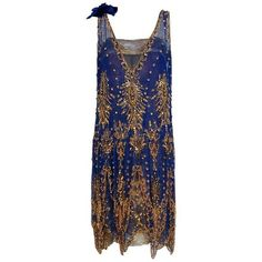 Preowned 1920's French Royal-blue Beaded Silk & Metallic Gold Lamé... ($2,000) ❤ liked on Polyvore featuring dresses, aesthetic evening dresses, black, lace cocktail dresses, royal blue dresses, silk slip on dress, 1920s gatsby dress and blue sequin dress