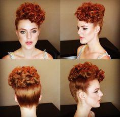 Vintage Hairstyles Curls Poodle updo, Miss Rockabilly Ruby. Pelo Vintage, Vintage Updo, Vintage Pins, 1940s Hairstyles, Curled Hairstyles, Easy Vintage Hairstyles, Poodle Haircut Styles, Pelo Retro, Retro Updo