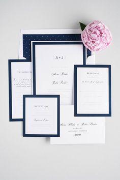 Modern navy blue wedding invitations | Shine Wedding Invitations