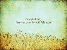 At night I pray, that soon, your face will fade away.