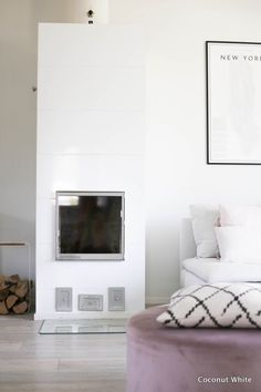Takka ja syksyn puut hoidettu | Coconut White Fireplaces, Bean Bag Chair, Coconut, Blog, Furniture, Home Decor, Log Fires, Homemade Home Decor, Fire Places