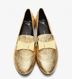 Giuseppe Zanotti Gold Bow Leather Dalila Women's Loafers | UpscaleHype