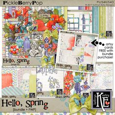 Hello, Spring Digital Scrapbooking Bundle + FWP Artsy Cards by Kathryn Estry @ PickleberryPop