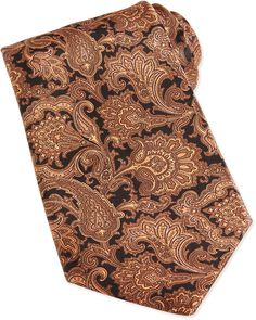 Brown Print Silk Tie by Stefano Ricci. Buy for $275 from Neiman Marcus