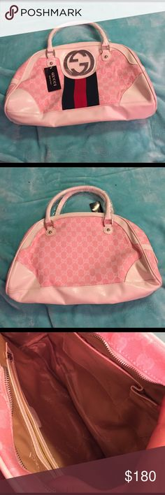 GUCCI purse Cute Gucci bag, never used, still has wrapping plastic and tags. Soft pink and white. (: will negotiate price. Gucci Bags Satchels