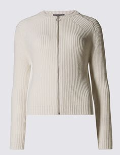 M&S Collection Pure Cotton Ribbed Cardigan: Shaped for a relaxed, loose fit, choose your normal… #UK #Menswear #WomensFashion #KidsClothes