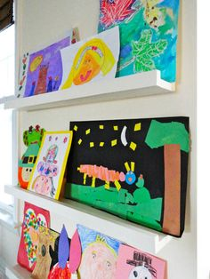 Lay Out on a Ledge: From Ana White, a display system that grows with your child. I love Ana White! Oh, and Ikea's RIBBA shelf is an easy, affordable non-DIY solution